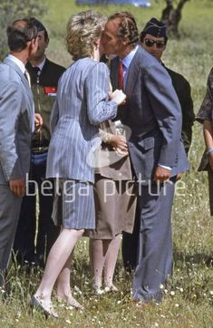 April 24 1987 Diana and Charles say their farewells to King Juan Carlos and Queen Sofia in a grassy field near Toledo where a helicopter awaits to take them to the Duke of Wellington's estate in Granada