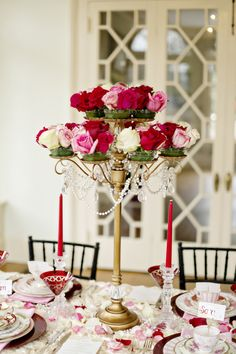 Gorgeous centerpieces! Perfect for a love themed wedding. Photo by Andie Freeman Photography.