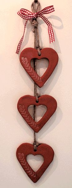 Salt dough craft ornaments hearts decoration with embossed design parenting.leehansen.com