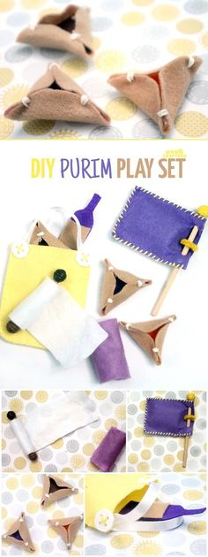 "Make an adorable purim play set from felt! This DIY toy for the holiday of Purim includes hamantaschen, a megillah, a food package with ""grape juice"", and a gragger/noisemaker. It's an adorable DIY toy for toddlers and great for introducing the Jewish hol Preschool Crafts, Fun Crafts, Mishloach Manos, Diy For Kids, Crafts For Kids, Jewish Crafts, Hebrew School, Thinking Day, Felt Diy"