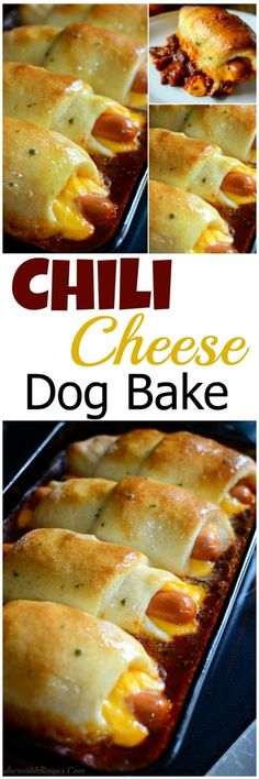 Chili Cheese Dog Bake: Can make mimi's for a party or full size for a quick dinner. Perfect for using leftover chili.