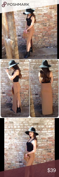 Caramel Side Tie Skirt *New listing 1-29*This comfortable and trendy skirt features elastic waist band and side ties. It's up to you how much you want to tie. Color is perfect for different tops and looks. 95% Polyester, 5% Spandex (This closet does not trade or use PayPal ) Boutique Skirts Maxi