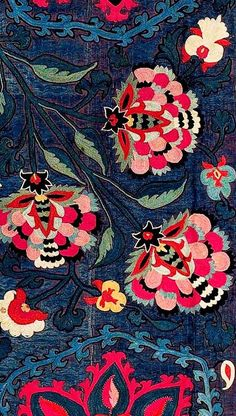 19th-century Lakai suzani (detail) on deep blue ground