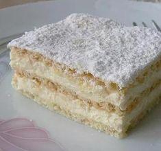 Hihetetlenül omlós szalalkális krémes - Blikk Rúzs Hungarian Desserts, Hungarian Recipes, No Bake Desserts, Delicious Desserts, Yummy Food, Cake Recipes, Dessert Recipes, Yogurt Cake, Dessert Drinks