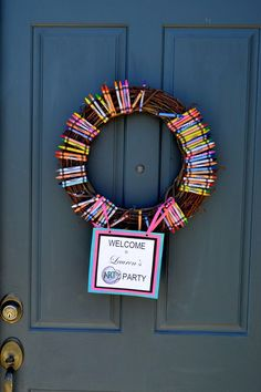 Crayon wreath for front door.