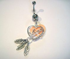 Belly Button Ring Barbell Clear Crystal Silver Tone 2 Hearts 3 Feathers.