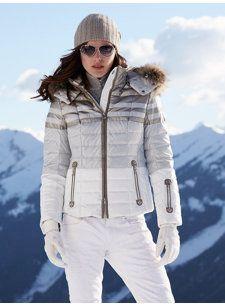 tea-dp stripe jacket with fur