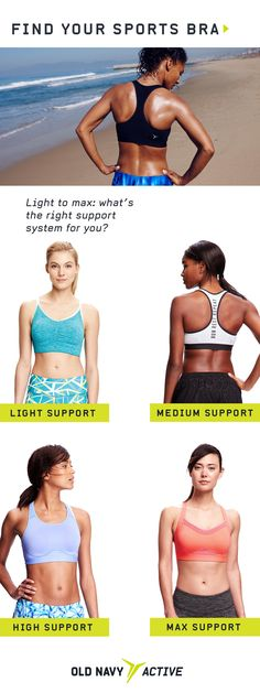 Did you know different sports bras offer different types of support? For low-impact activities like yoga or barre classes, opt light support. If you're running a marathon or taking up kickboxing, max support is for you. Gym Gear, I Work Out, Athletic Outfits, Kickboxing, Workout Wear, Excercise, Yoga Fitness, Marathon, Fitness Fashion