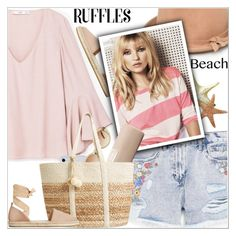 """""""Ruffled Top"""" by shoaleh-nia ❤ liked on Polyvore featuring MANGO and Kate Spade"""