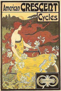Art Nouveau American Crescent Cycles poster
