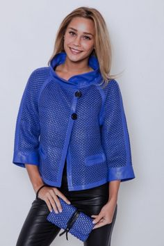 Irrésistible veste paletot bleu #Akhesa en cuir tressé à découvrir au plus vite http://www.cesarenori.fr/collection-femme/3205-blouson-paletot-en-cuir-d-agneau-tresse-sur-tulle-bleu-femme-jasmin-akhesa.html #fashion