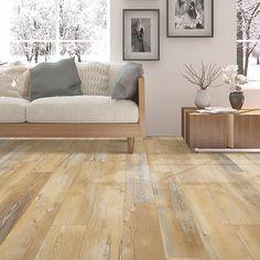 Golden, medium wood-look flooring. Pergo Extreme Wood Originals in Noel