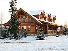 Custom Handcrafted Western Red Cedar Log Cabin Homes - Lake Country Log Homes Cabins In The Woods, House In The Woods, Cedar Log, Red Cedar, Log Cabin Homes, Log Cabins, Mountain Cabins, Home Developers, Log Home Living
