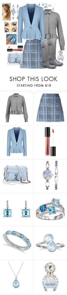 """Blue Blazer Set"" by snowflakeunique ❤ liked on Polyvore featuring MSGM, Versace, WithChic, Bare Escentuals, Rebecca Minkoff, David Yurman, Allurez, BillyTheTree and Marc Jacobs"