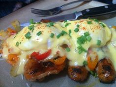 Low Carb - Garlic Chicken Sausage Benedict w/ Peppers and Onions