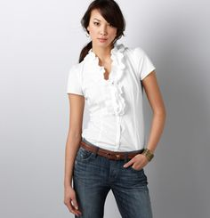This beautiful ruffle neck blouse is on its way to me.  $40 from Loft.