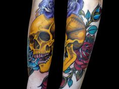 neo traditional skull and roses tattoo