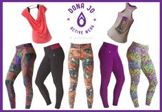 Bright, bold, fun printed & solid colored leggings + cute workout clothes-tees, tanks & sports bras with an open back. Perfect for showing off those back muscles you've been running and working hard in the gym lifting for! Extremely breathable fabric--great for yoga, dance, spinning, Zumba, barre, any type of sweaty activity,
