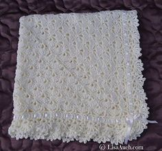 This blanket elegant and impressive yet is easy to make. The beautiful baby blanket is made using a unique stitch based on the Classic Fantail Shell stitch but worked in the round. The gorgeous FanTail Baby Blanket/Shawl by LisaAuch is the perfect gift fo Crochet Baby Shawl, Crochet Baby Blanket Free Pattern, Crochet Stitches, Free Crochet, Knit Crochet, Crochet Patterns, Crochet Blankets, Crochet Afghans, Ravelry Crochet