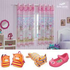 Sua menina adora os sapatos, mochilas e os gatinhos de pelúcia? Então deixe-a ainda mais apaixonada por eles: decore o quarto com a Cortina Colorê Cats!
