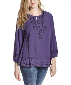 Look at this #zulilyfind! Mulberry & Black Embroidered Tunic by Nomadic Traders #zulilyfinds