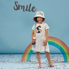 COSTELLO Organic Cotton Girls Applique Dress - Rainbow Bunny by www.thebonniemob.com // British designer kids and baby wear //The bonnie mob ship worldwide and express ship to USA.