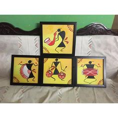Geometric art diy canvas inspiration ideas for 2019 Worli Painting, Fabric Painting, Painting Flowers, Pottery Painting, Tribal Art, Geometric Art, African Art Paintings, Coaster Art, Mini Canvas Art