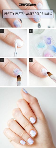 How-To Pretty Pastel Watercolor Manicure - Pastel Paint Nail Art How-To - Cosmopolitan