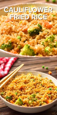Our Cauliflower Fried looks and tastes just like fried rice! Perfect for a low carb diet or if you are trying to get your kids to eat their vegetables! Great side dish or add in Chicken, Shrimp or beef to make it a meal! Great meal - so quick and easy! Rice Recipes, Vegetable Recipes, Vegetarian Recipes, Cooking Recipes, Healthy Recipes, Keto Recipes, Easy Recipes, Vegetable Side Dishes, Ketogenic Recipes