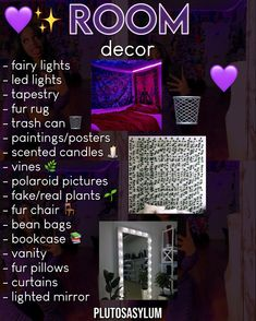 Cute Bedroom Decor, Bedroom Decor For Teen Girls, Cute Bedroom Ideas, Room Design Bedroom, Girl Bedroom Designs, Teen Room Decor, Room Ideas Bedroom, Neon Room, Clean Bedroom