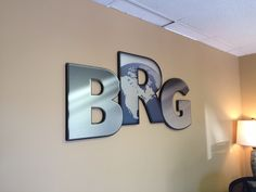 Printed and cut dimensional letters. Made using Ultra board with a brushed aluminum finish. Installed with post mounts. Print And Cut, It Is Finished, Letters, Graphics, Printed, City, Board, Graphic Design, Letter