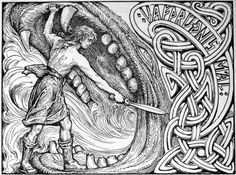 An illustration of Víðarr stabbing Fenrir while holding his jaws apart by W. G. Collingwood, inspired by the Gosforth Cross, 1908
