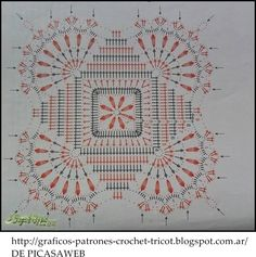 CROCHET - GANCHILLO - PATRONES - GRAFICOS: UN HERMOSO MANTEL TEJIDO A CROCHET CON SU PATRON