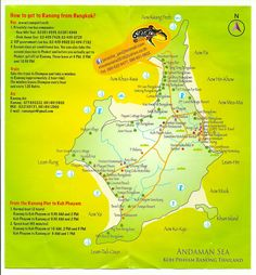 Thailand. Neat little Koh Phayam map on a Banana Resort flyer picked up in Ranong.
