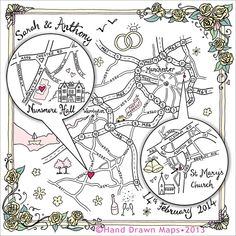 Why not commission a really lovely hand-drawn map of your various venue locations. It'll look great on your stationery and a larger framed version would make a fab keepsake of your special day. From www.hand-drawnmaps.co.uk
