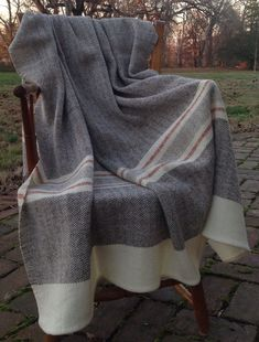 Hand Woven Merino Wool Blanket – 2020 Hand woven using naturally colored brown, gray, and creamy white from our own flock of Merino sheep. Diy Blankets No Sew, Diy Laine, Diy Blanket Ladder, Textiles, Weaving Projects, Weaving Patterns, Merino Wool Blanket, Brown And Grey, Hand Weaving