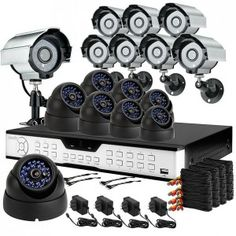 16CH Security Camera System with 16 Sony CCD 65ft Night Vision Cameras