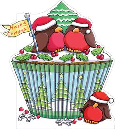 Robin Cupcake Christmas Cards (pack of 8) from Phoenix Trading. Supporting Together for Short Lives, Cancer Research UK & Macmillan