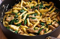 Kalyn's Kitchen: Recipe for Penne Pasta with Spicy Italian Sausage, Mushrooms, and Spinach