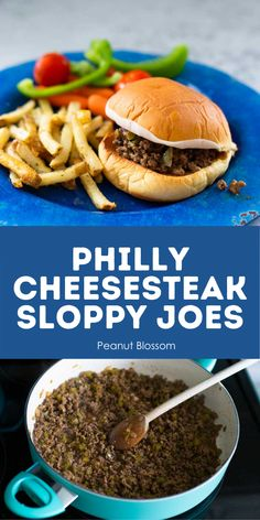 Easy Philly Cheesesteak Sloppy Joes in 15 minutes are a perfect busy weeknight dinner. Loaded with chopped peppers and onions, covered with melted cheese, served on a toasted bun. Your kids will love this simple dinner idea. Fast Dinners, Easy Meals, Easy Recipes, Easy Cooking, Freezer Cooking, Cooking Ideas, Sunday Dinner Recipes, Veggie Tray, Family Meals