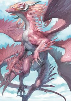 this is one pretty cool anime dragon. why is he pink I will never know?