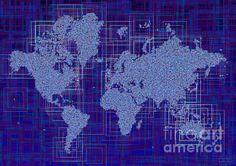 World Map Rettangoli In Blue And White by elevencorners. World map wall print decor. #elevencorners #maprettangoli