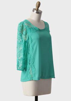 Mint Melt Away Lace Blouse