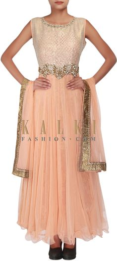 Buy Online from the link below. We ship worldwide (Free Shipping over US$100) http://www.kalkifashion.com/peach-anarkali-embellished-in-patchwork-embroidery-only-on-kalki.html