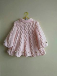 Baby Knitting Patterns For Kids Baby Knitting Patterns, Baby Cardigan Knitting Pattern, Knitting For Kids, Double Knitting, Free Knitting, Crochet Patterns, Knit Baby Sweaters, Knitted Baby Clothes, Girls Sweaters