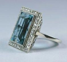 French Art Deco Aquamarine & Diamond Ring, ca 1920 #vintage