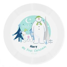 Personalised Plastic Plate - Snowman and Snowdog Snowman And The Snowdog, Cute Snowman, Christmas Dinner Plates, Christmas Themes, Dinosaur Photo, Character Words, Be My Bridesmaid Cards, My First Christmas, Plate Display