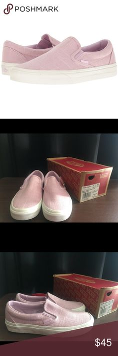 8ed4ee5783 Shop Women s Vans Pink size Shoes at a discounted price at Poshmark.  Description  Vans Classic Slip-On Hemp Linen Windsome Orchid Women Sz Sold  by Fast ...