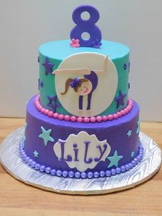Gymnast Birthday Cake Purple Cake Girl Birthday