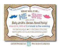 Gender Reveal Party Invitation- New Baby Invite- Rustic, Printable File-Custom Design- Baby Shower Gender Reveal Invitation